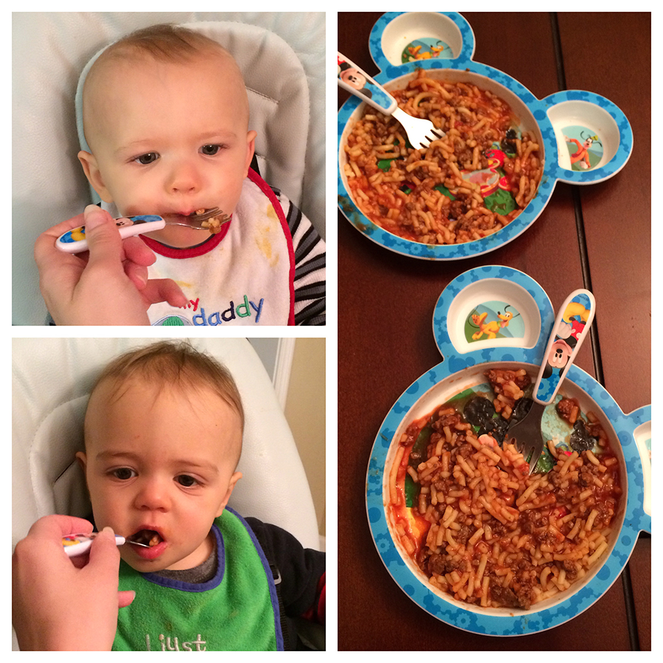 First time the boys ate spaghetti