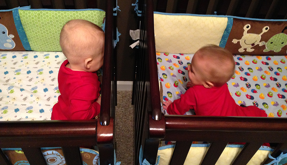 The boys ninja'd the transition from their infant sleepers to their cribs